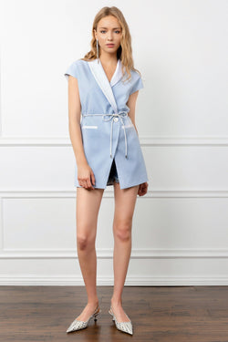 Light Blue Wrap Mini Dress with Tied Waist | J.ING women's apparel