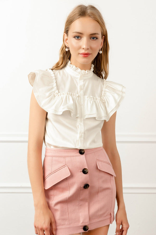 White Ruffle Collar Victorian Style Blouse | J.ING Women's Apparel