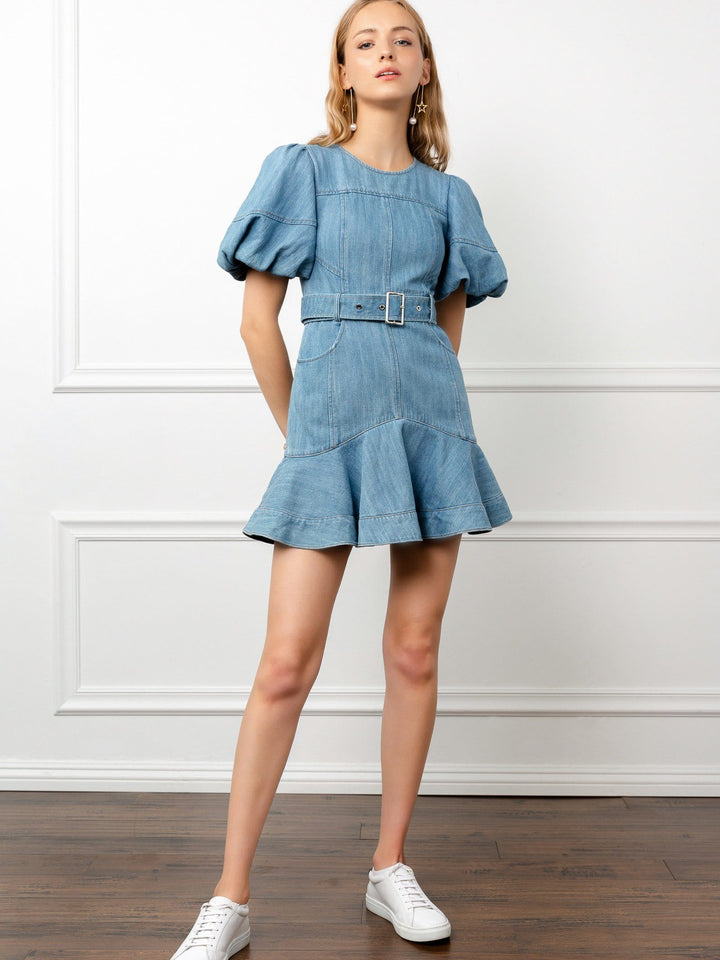 Blue denim balloon sleeve A-line mini dress | J.ING women's apparel