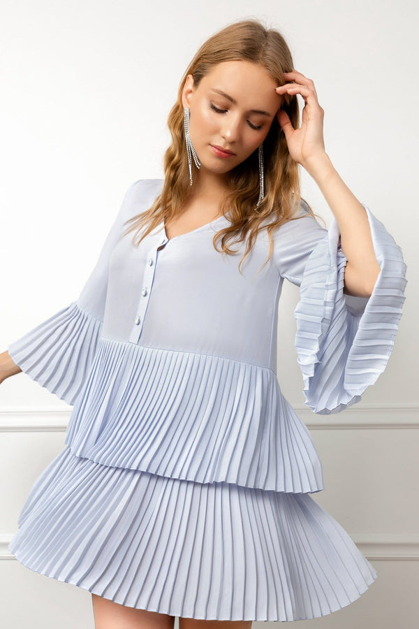 Light Blue tiered tent dress with pleated details | J.ING women's apparel