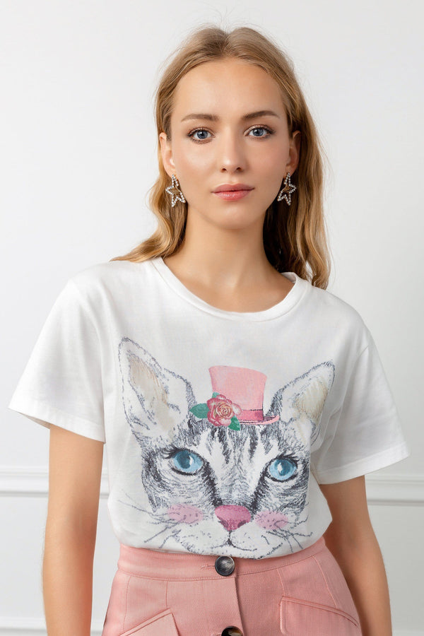 White Graphic Tee with Kitty Face | J.ING Women's Tops & Apparel