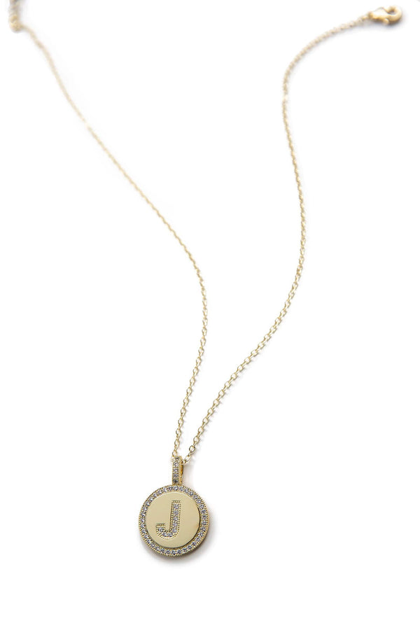 Gold necklace with J letter pendant surrounded by crystals | J.ING women's accessories
