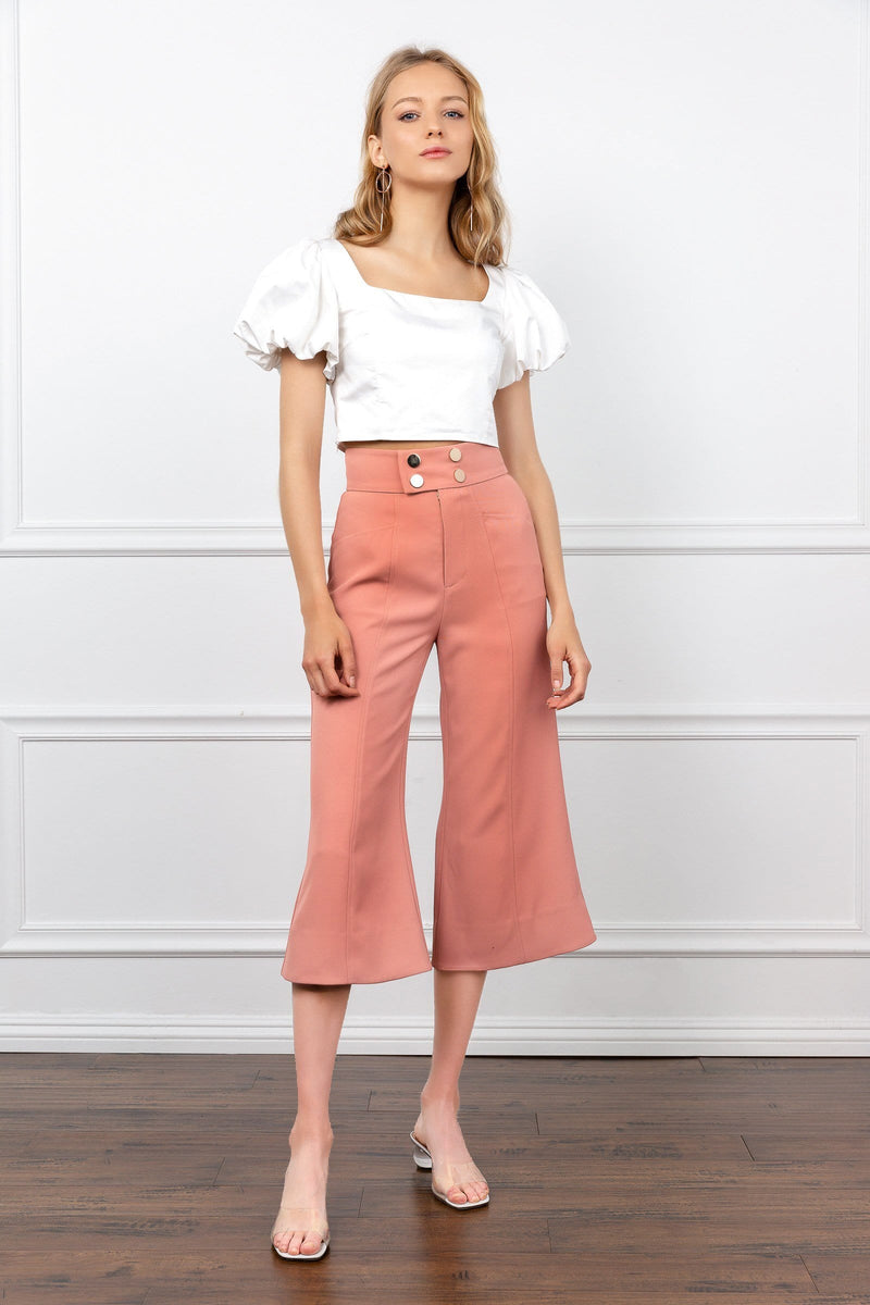 Coral Wide Leg Cropped Flared Pants | J.ING Women's Bottoms
