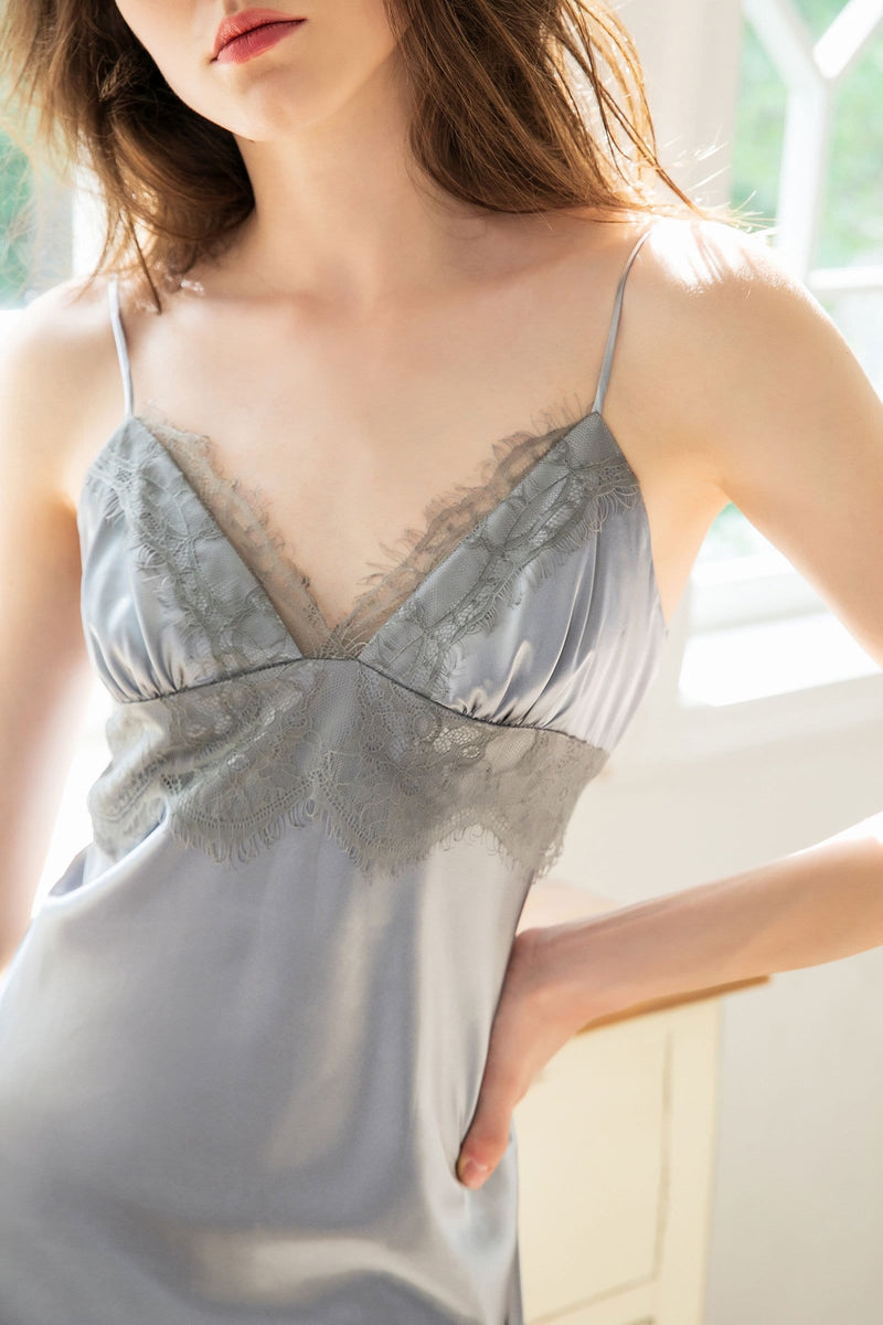 Granite Lace Satin Slip