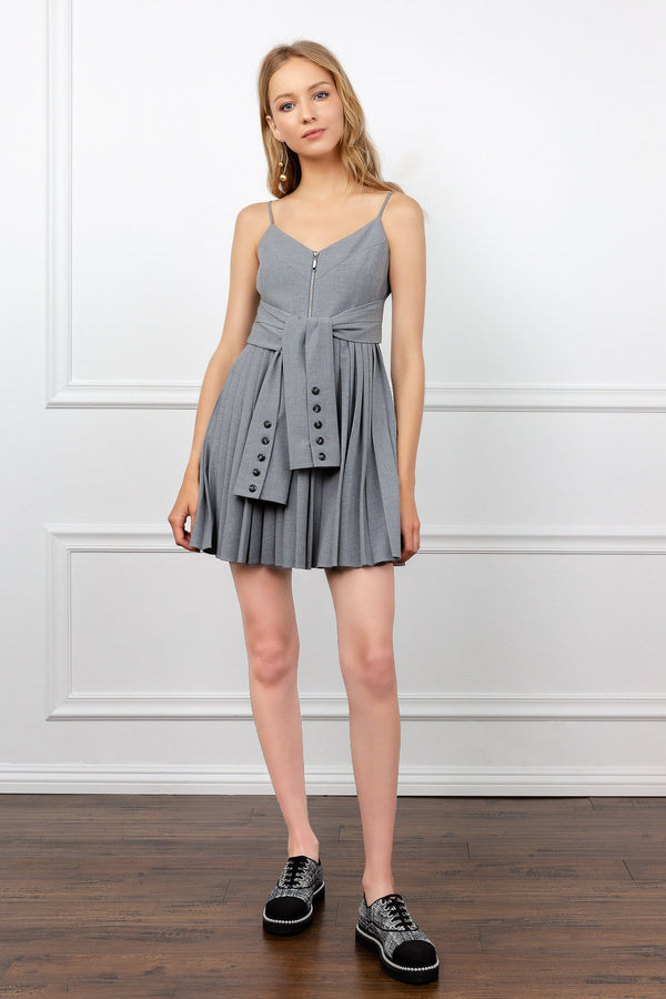 Grey Spaghetti Strap Mini Dress with Pleated Skirt and sleeve tied waist | J.ING women's dresses