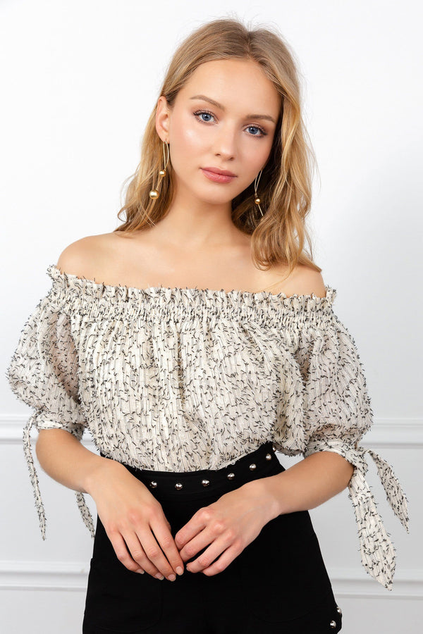 Off the Shoulder Floral print peasant top by J.ING women's clothing