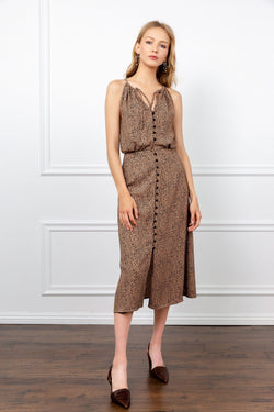 Brown Halter Cheetah Midi Dress | J.ING Women's Apparel