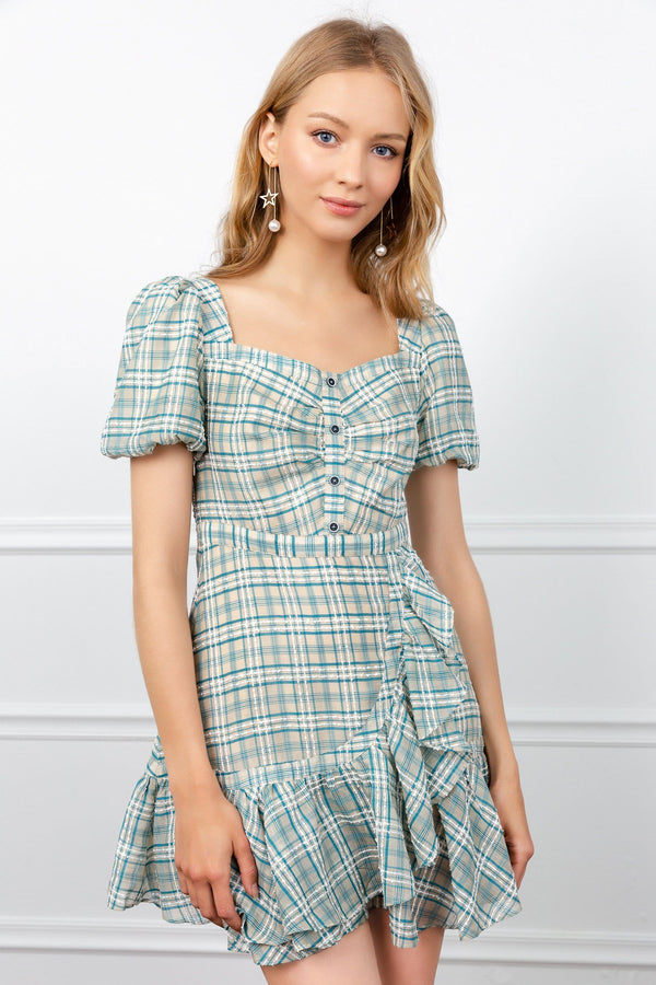 Green Plaid Ruffled Dress with Puff Short Sleeves | J.ING women's dresses