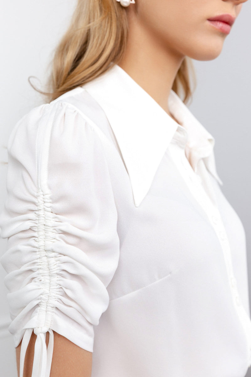 White Literary Blouse