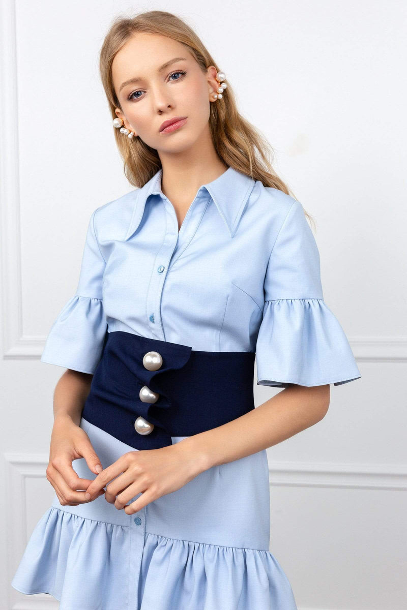 Blue flutter sleeve shirt dress with black belted waist | J.ING women's dresses