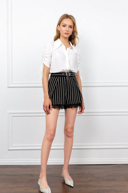 Black and White Striped Shorts with Lace Hemlines | J.ING Women's Shorts