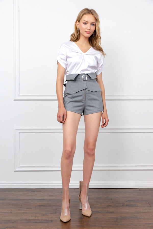 Grey High Waist Corset Shorts | J.ING women's wear
