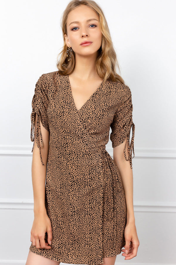 Brown Wrap V-Neck Cheetah Dress | J.ING women's dresses