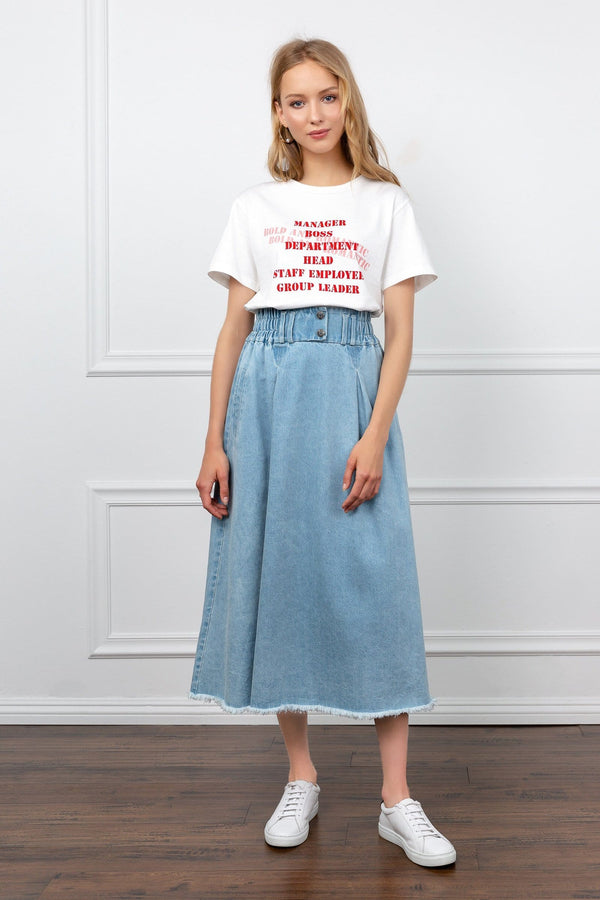 Light blue denim midi skirt | J.ing women's apparel
