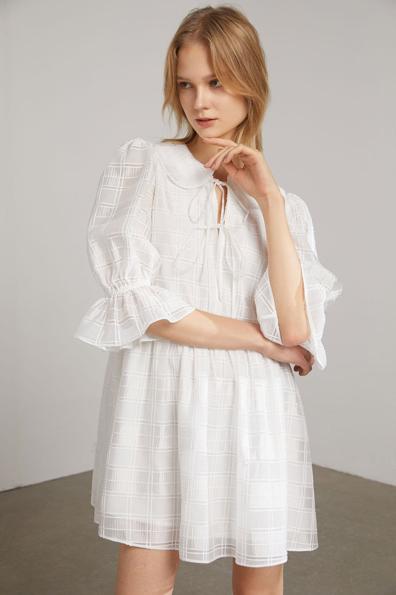 Dahlia Sheer White Shift Dress