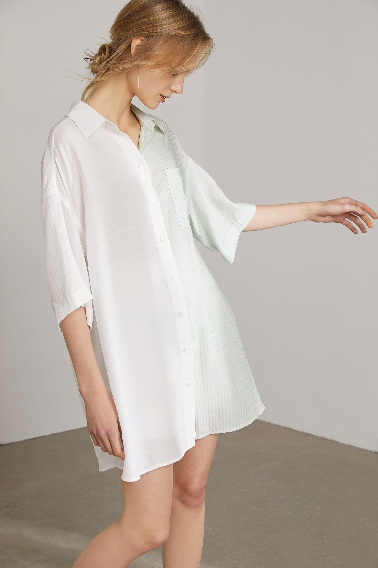 Anna Creamy Mint Shirt Dress
