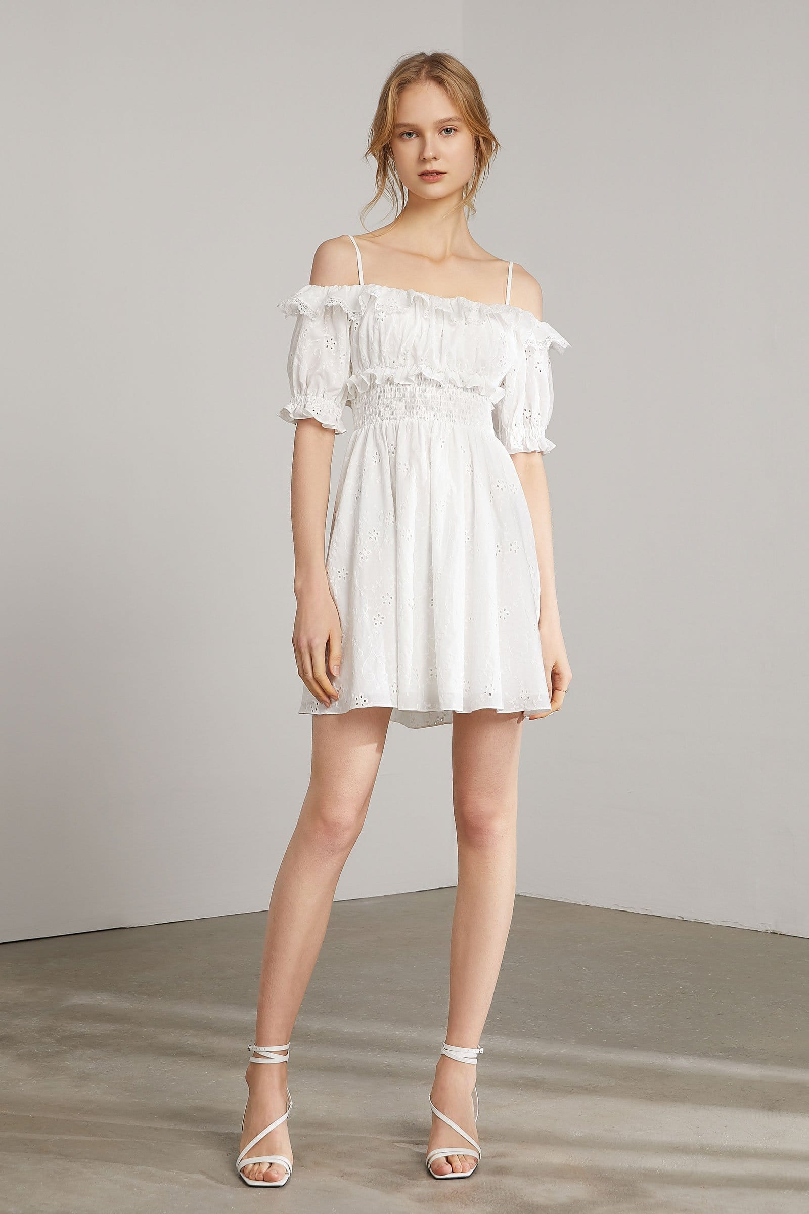 Maybelle White Eyelet Off-Shoulder Mini Dress