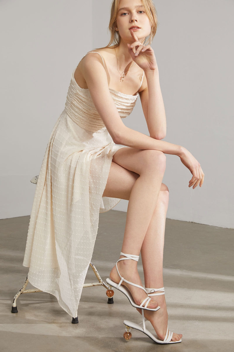 Venus Cream Asymmetrical Dress