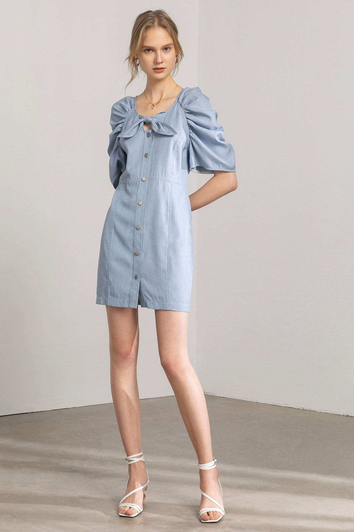 Pauline Powder Blue Bow Mini Dress