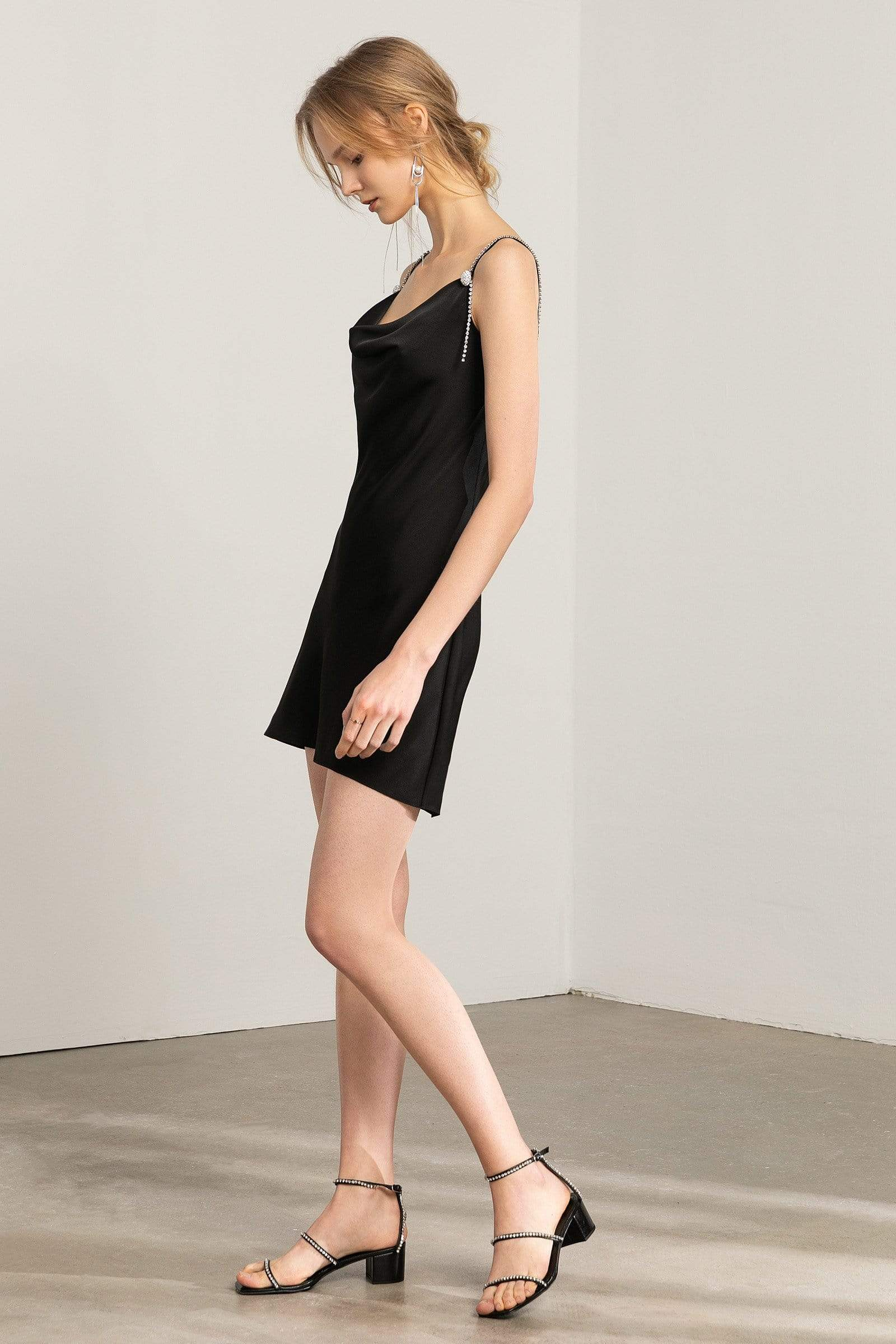 Devana Black Silky Cowl-Neck Dress