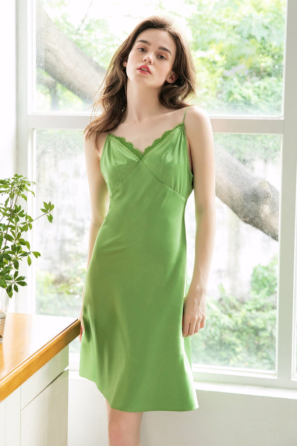 Chartreuse Lace Satin Slip