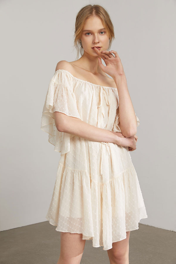 Ophelia Cream Flutter Sleeve Dress