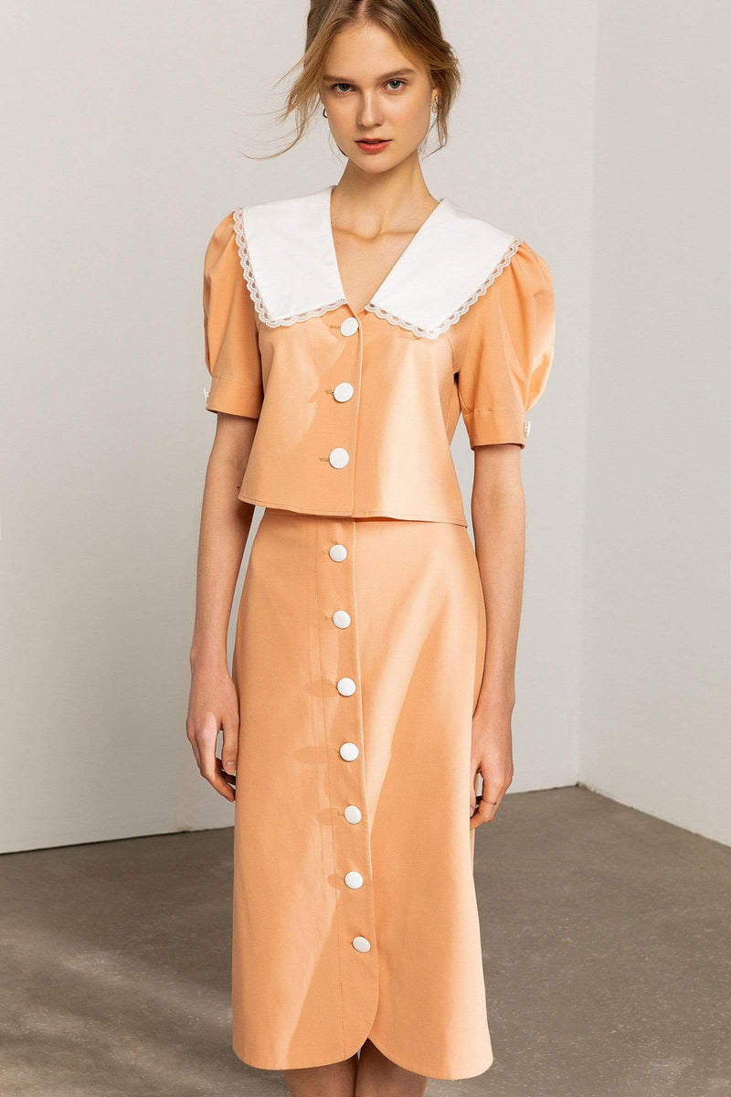 Janette Peach Button Midi Skirt