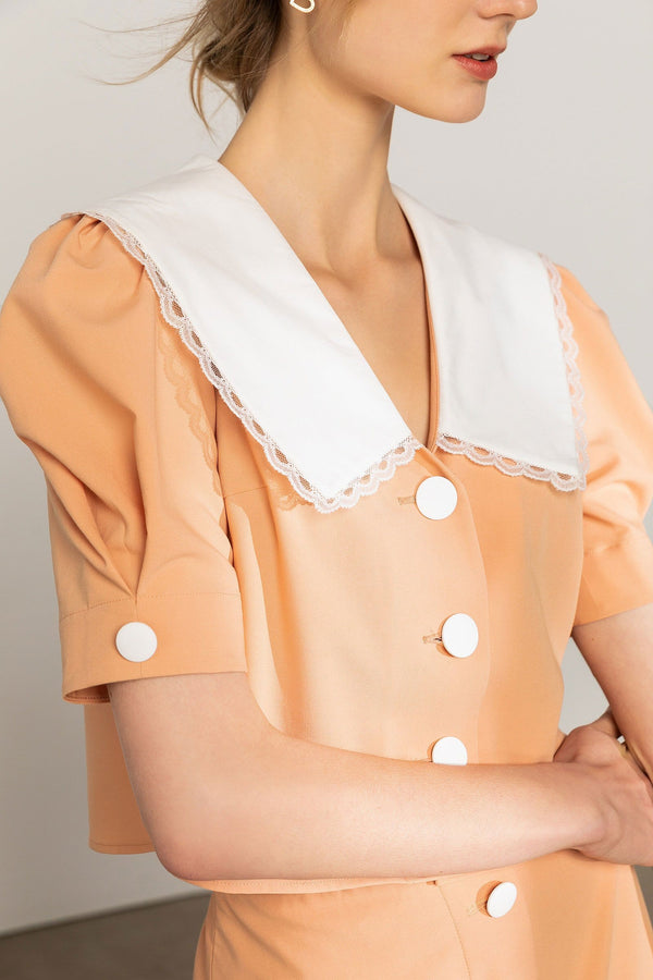 Agitha Peach Pilgrim Collar Blouse