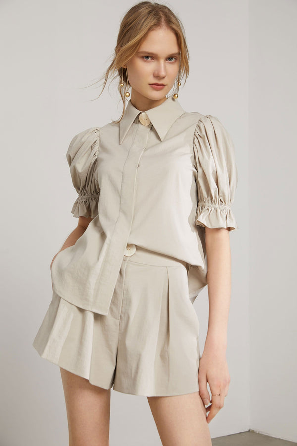 Empress Khaki Puff Sleeve Blouse