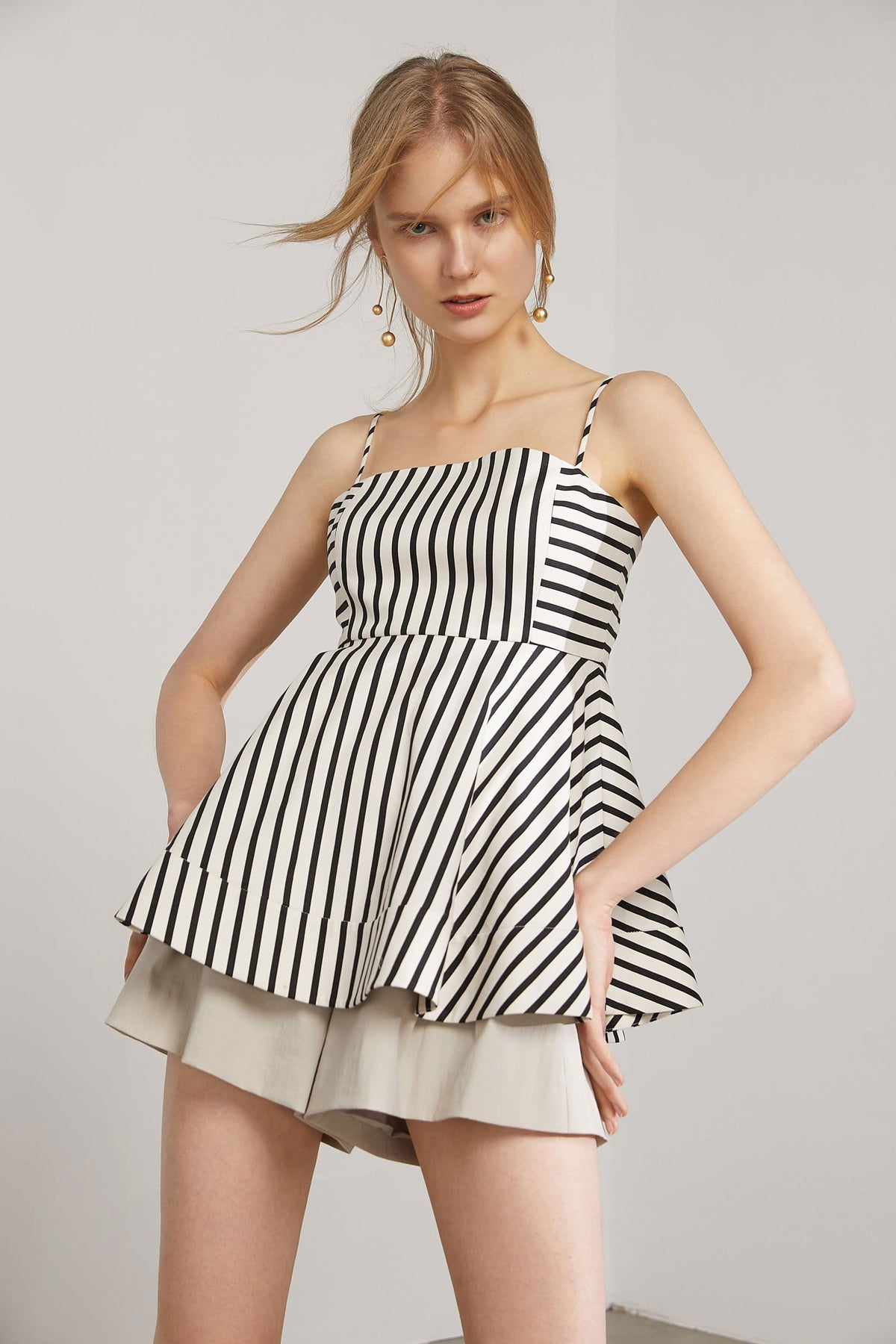 Oksana Striped Peplum Top