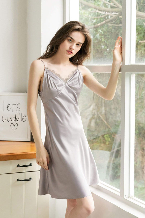 Dove Lace Satin Slip