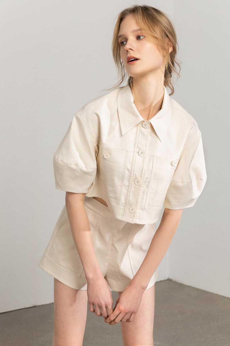 Lilith Frothy Button Up Crop Top