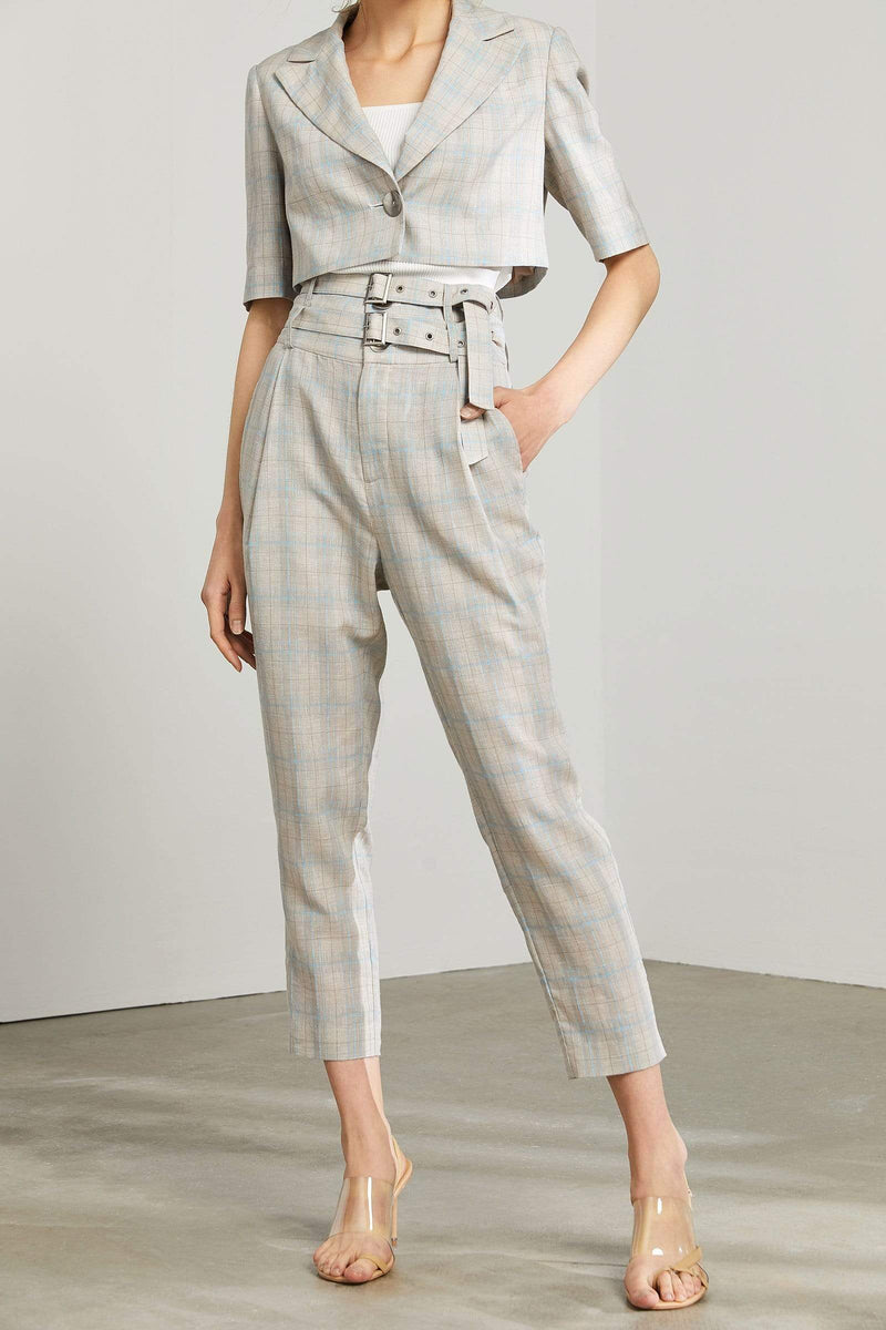 Gertrude Plaid Double Belted Trousers