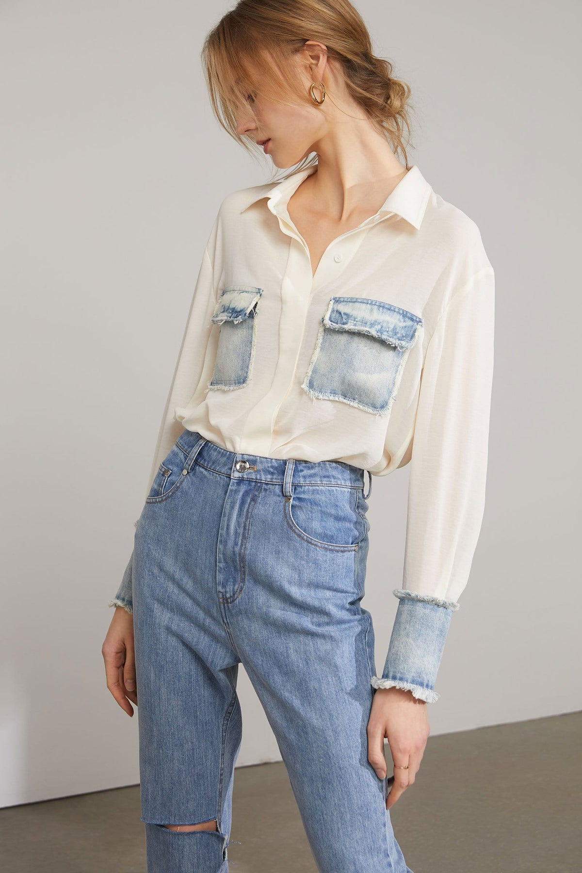Livy Cream Denim Combination Shirt