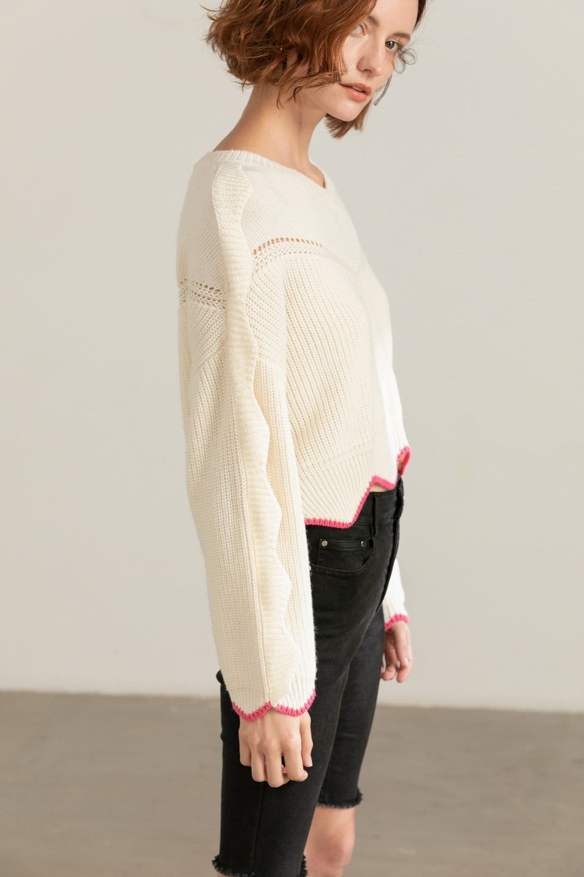 Finnegan White Knit Pullover