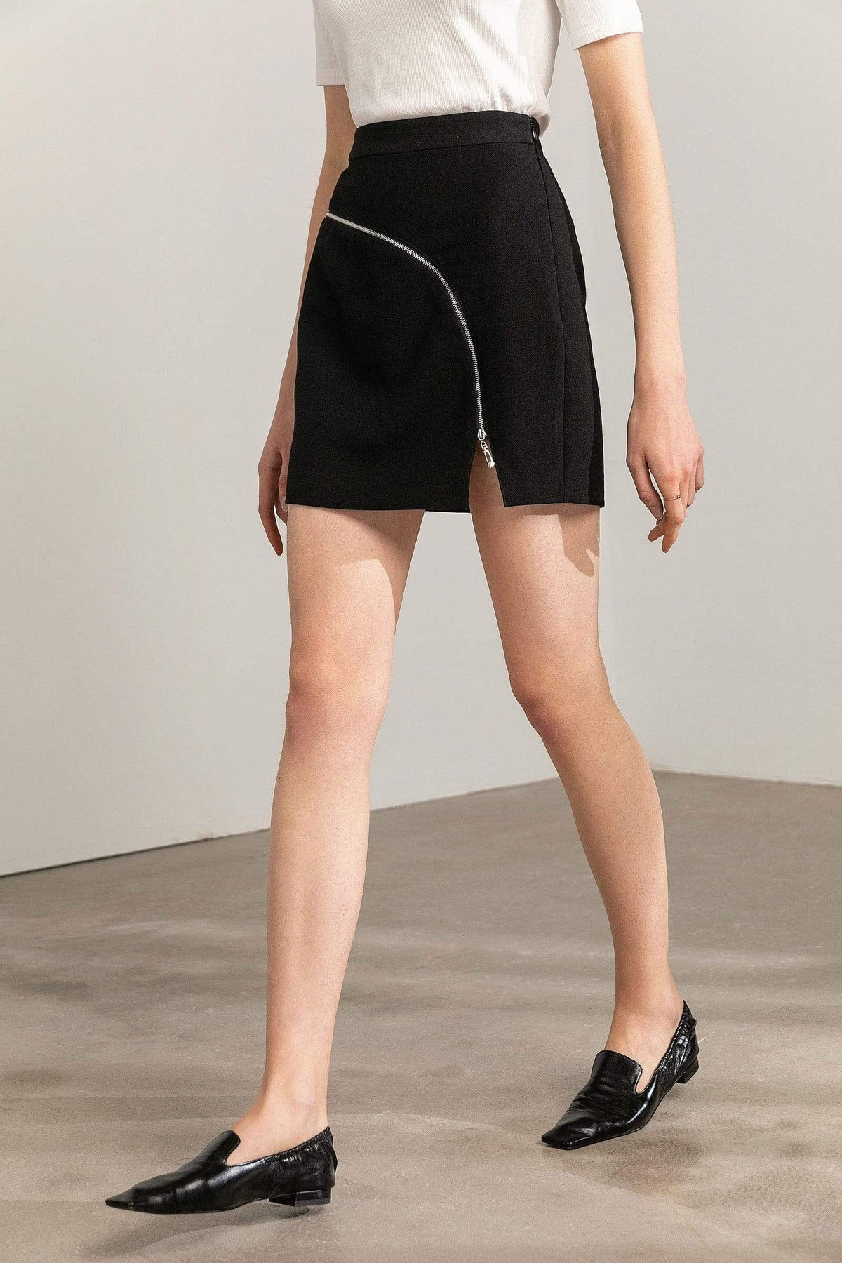 Curve Black Zip Mini Skirt