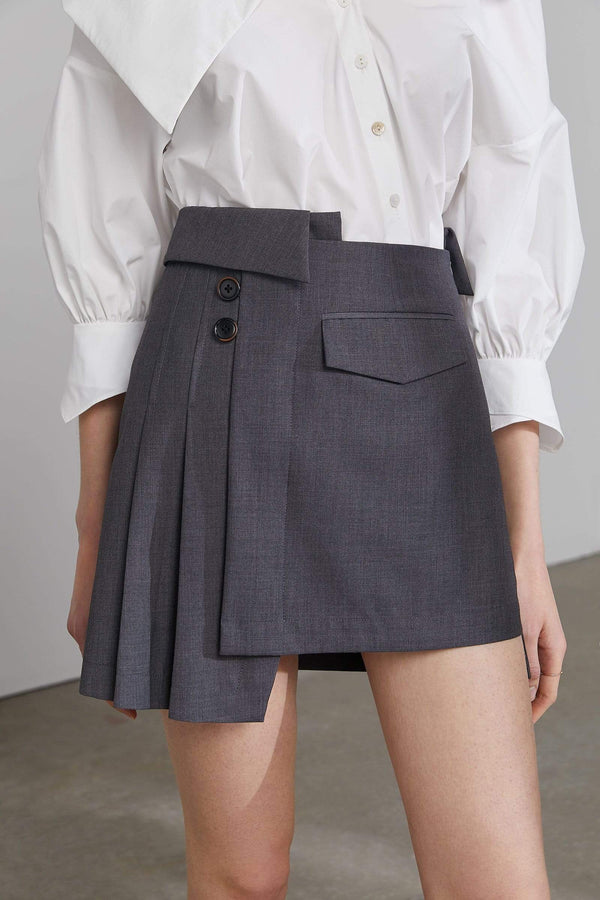 Jilted Grey Asymmetrical Mini Skirt