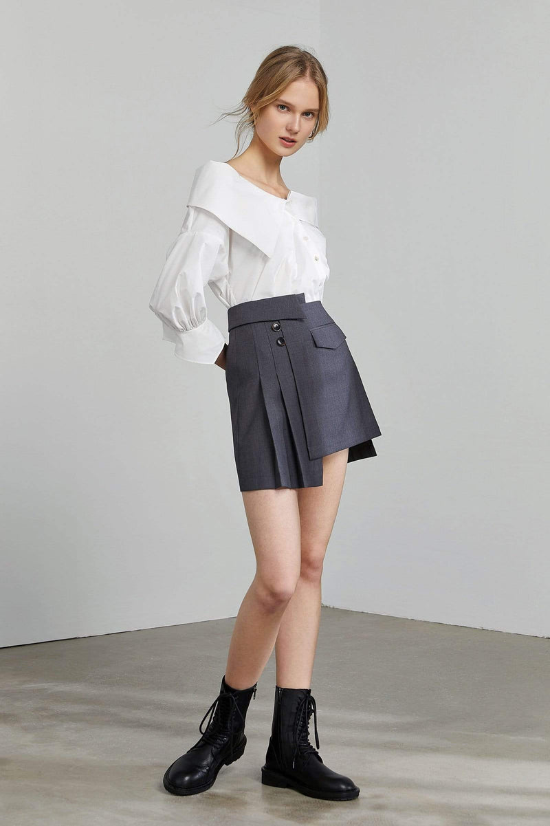 Jilted Grey Asymmetrical Mini Skort