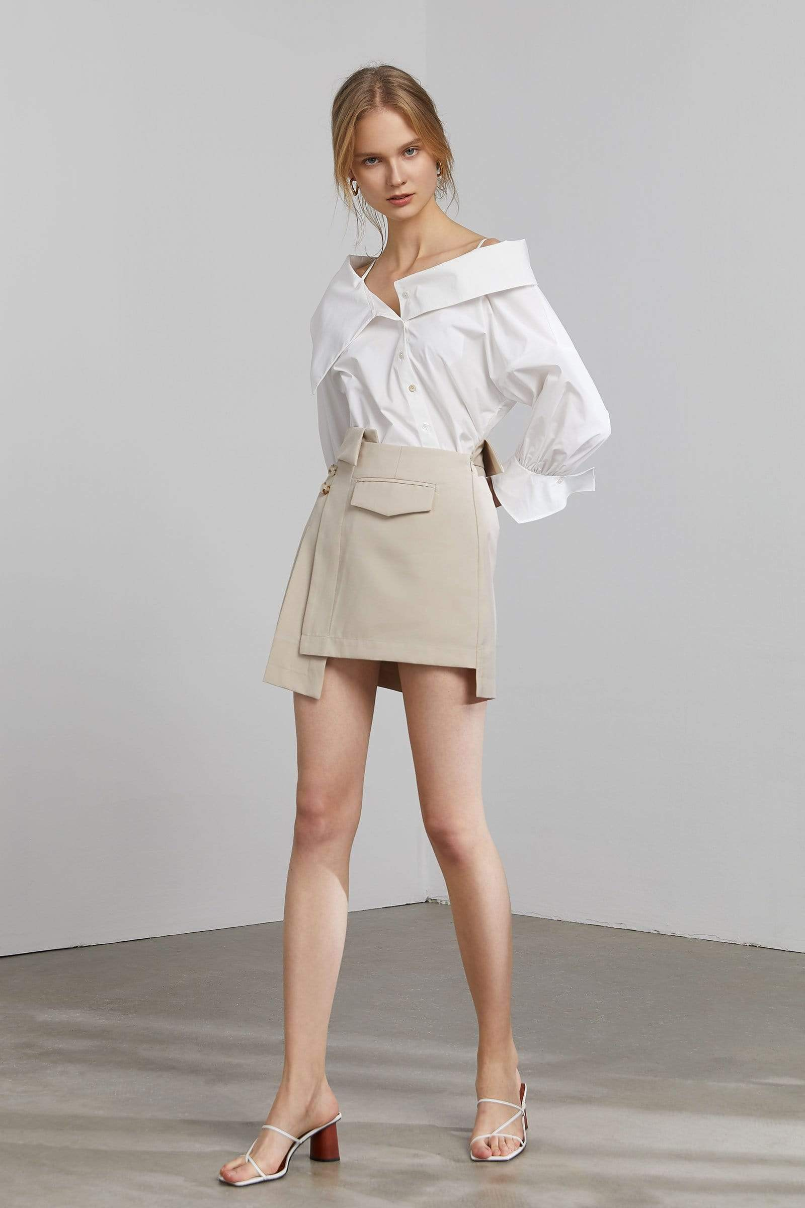 Jilted Tan Asymmetrical Mini Skort