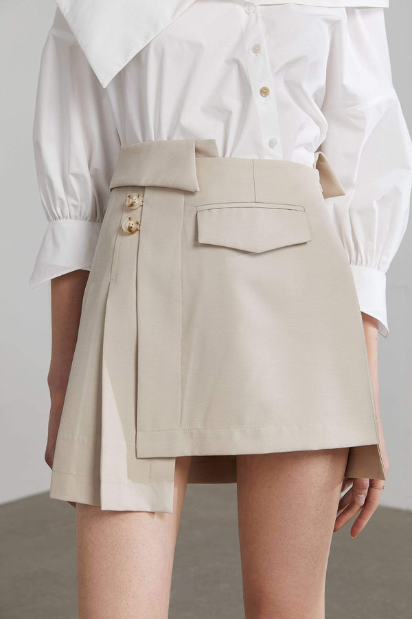 Tan asymmetrical mini skort by J.ING women's apparel