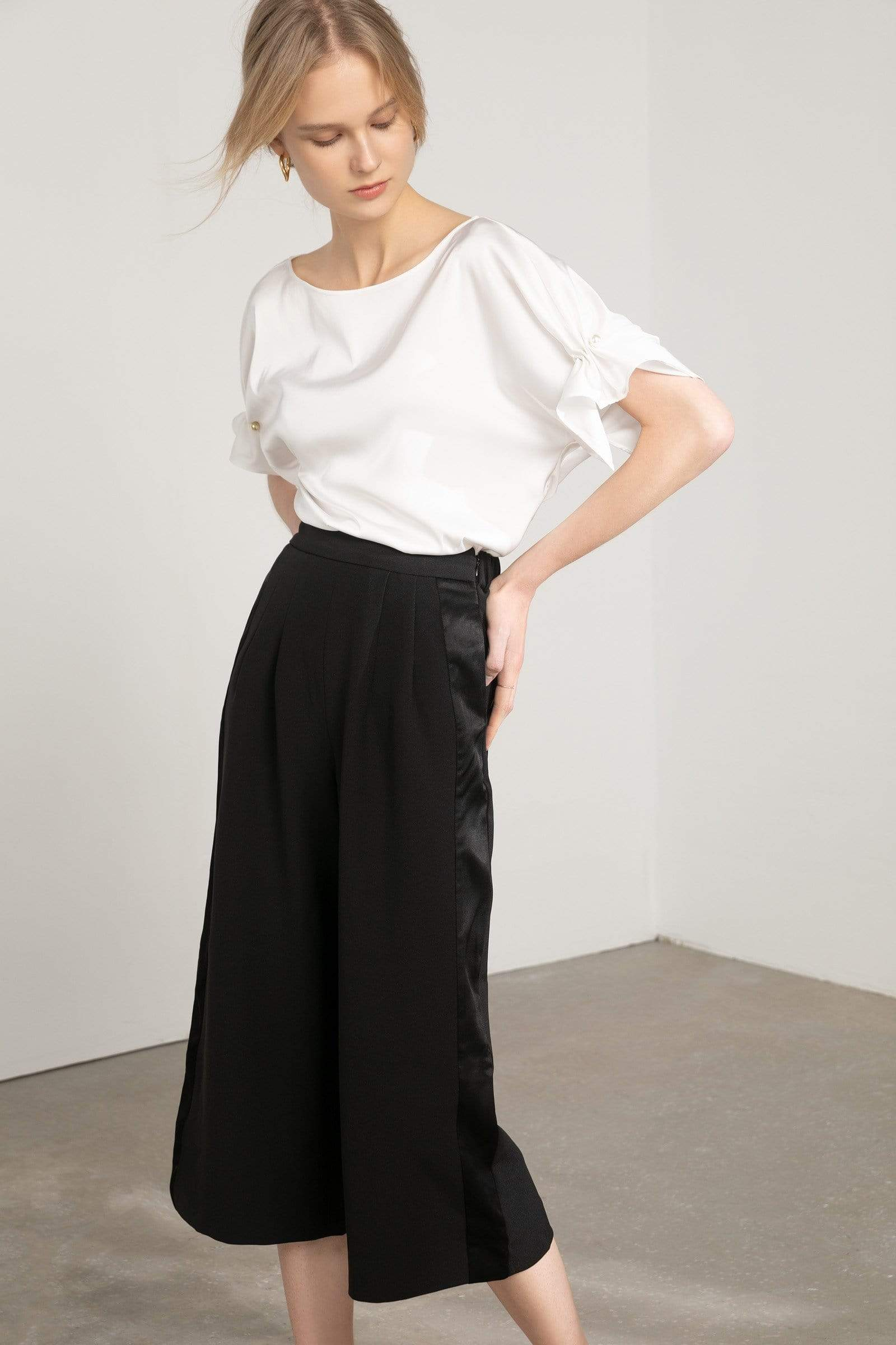 Inky Black Pleated Palazzo Pants
