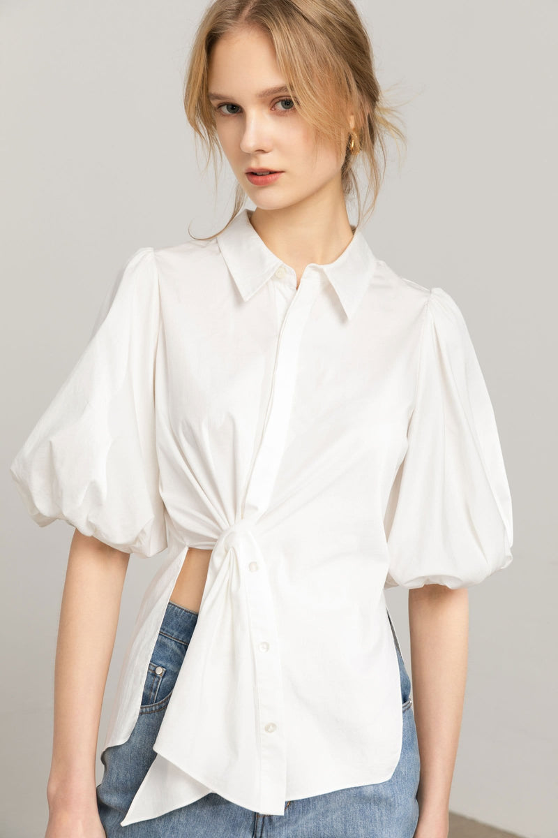 Souffle White Asymmetrical Tunic