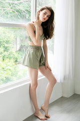 Sage Satin Sleep Shorts