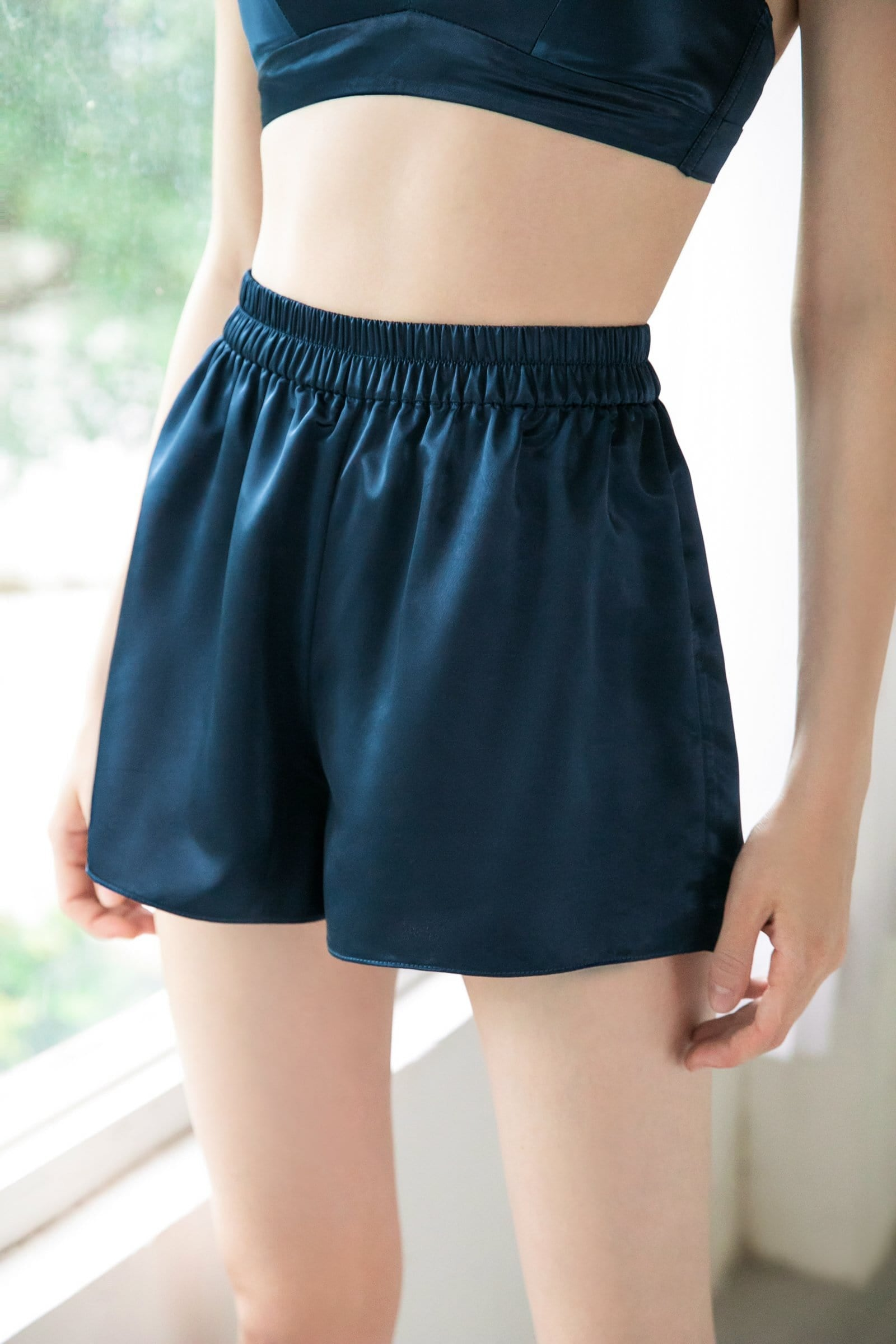 Lapis Satin Sleep Shorts