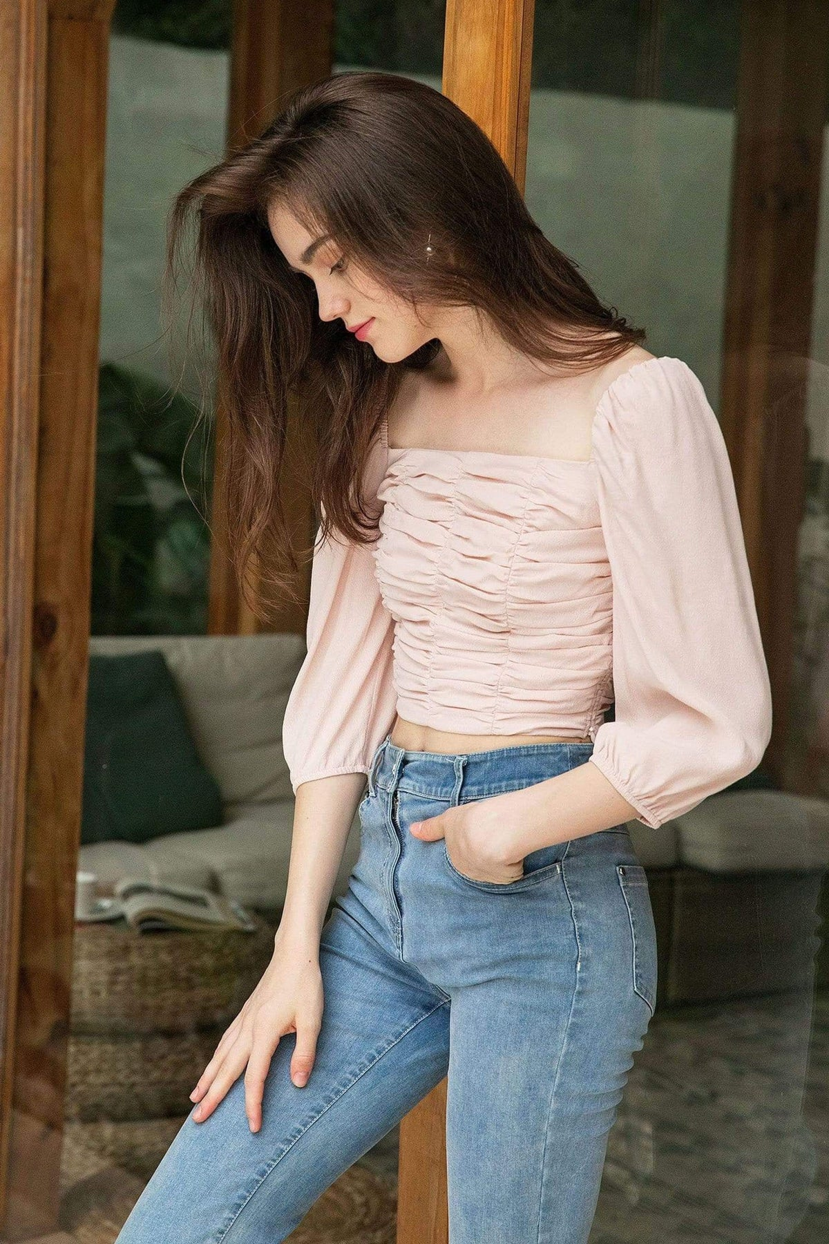Elena Pink Square Neck Top