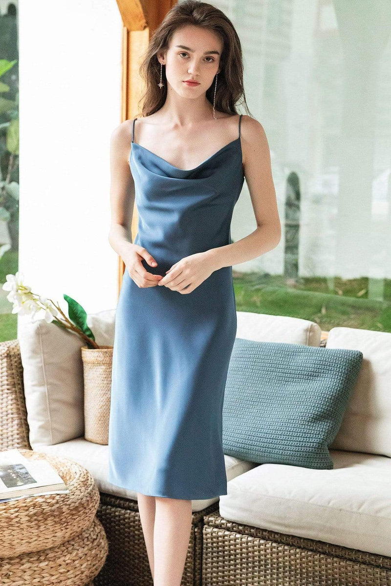 Aurelie Blue Midi Slip Dress