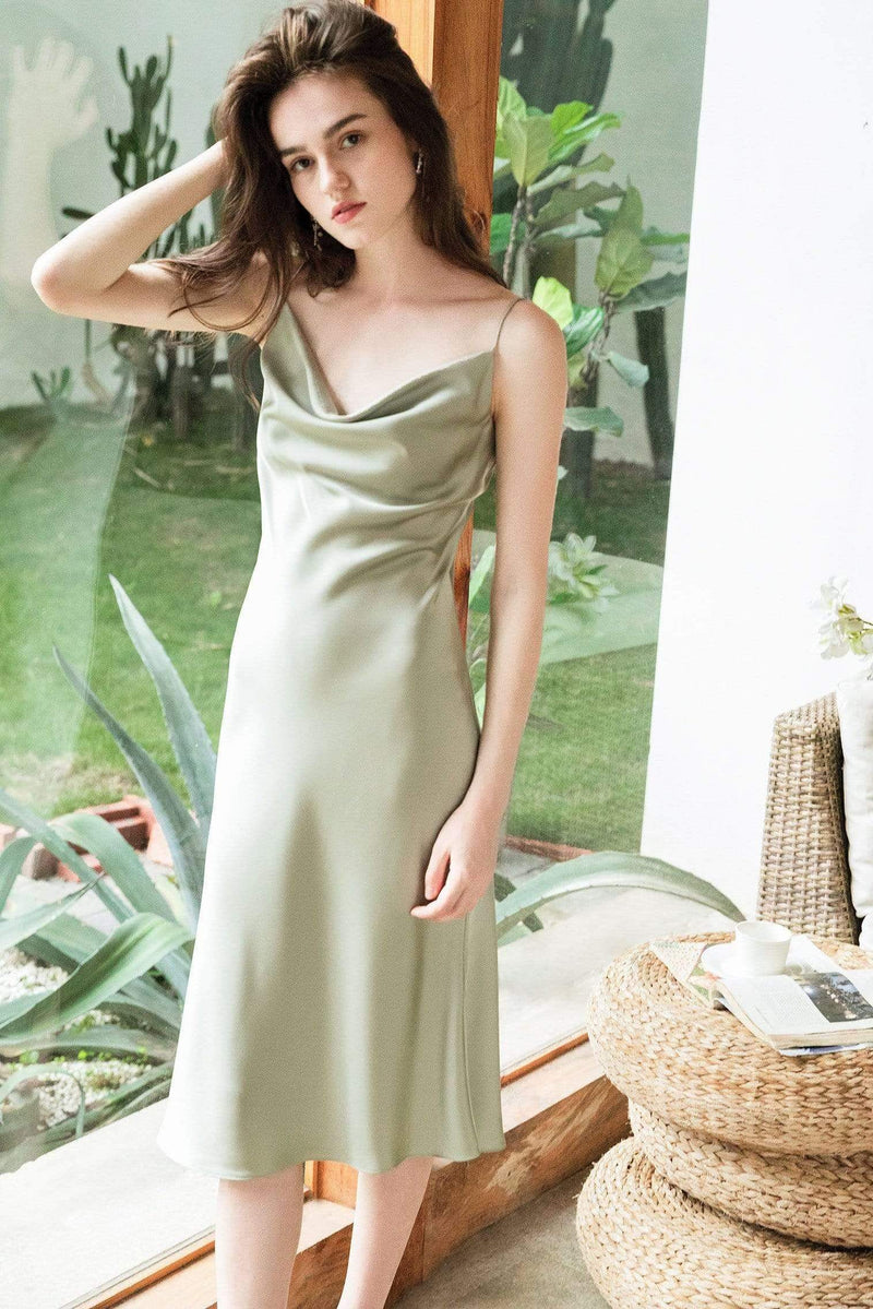 Pistachio Green Midi Slip Dress