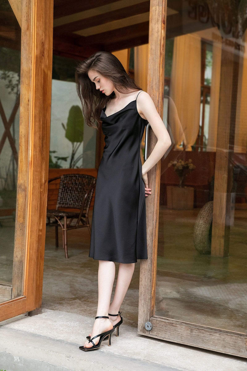 Midnight Black Midi Slip Dress