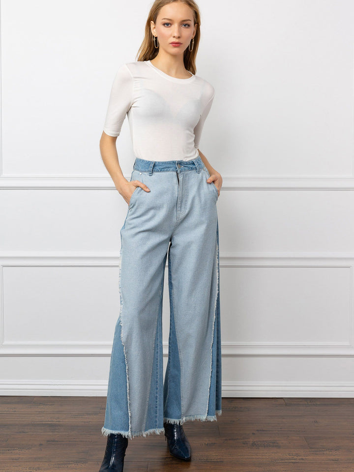 acid wash denim wide leg pants with raw hem by j.ing women's pants