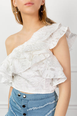 White Ruffled One Shoulder Eyelet Lace Top by J.ING Women's Clothing